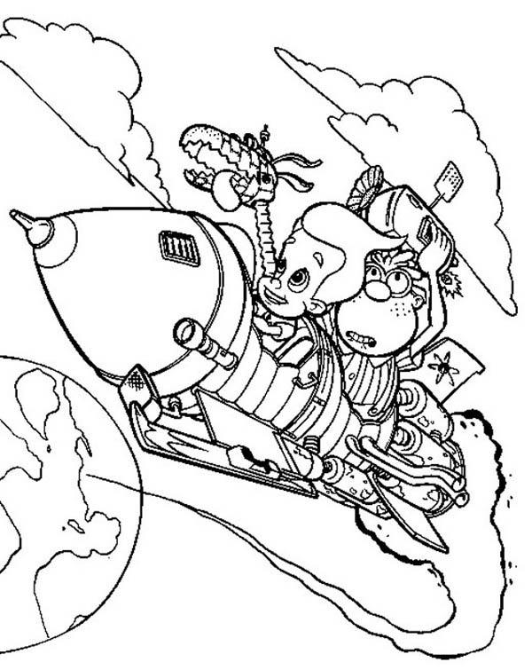 Jimmy Neutron Inventing Rocket Coloring Pages