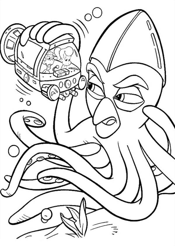 Jimmy Neutron Meet Giant Octopus Coloring Pages