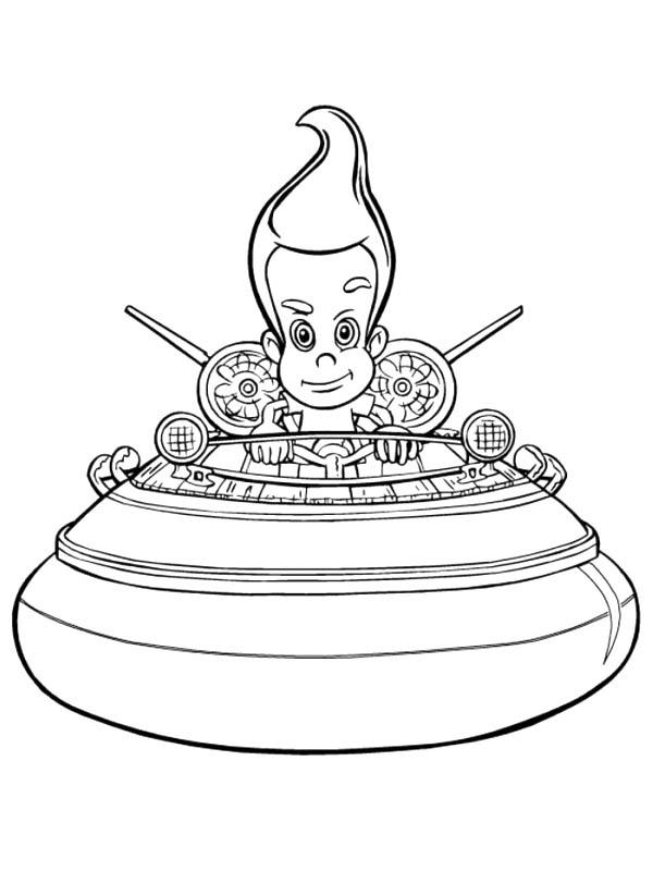 Jimmy Neutron On His Spaceship Coloring Pages