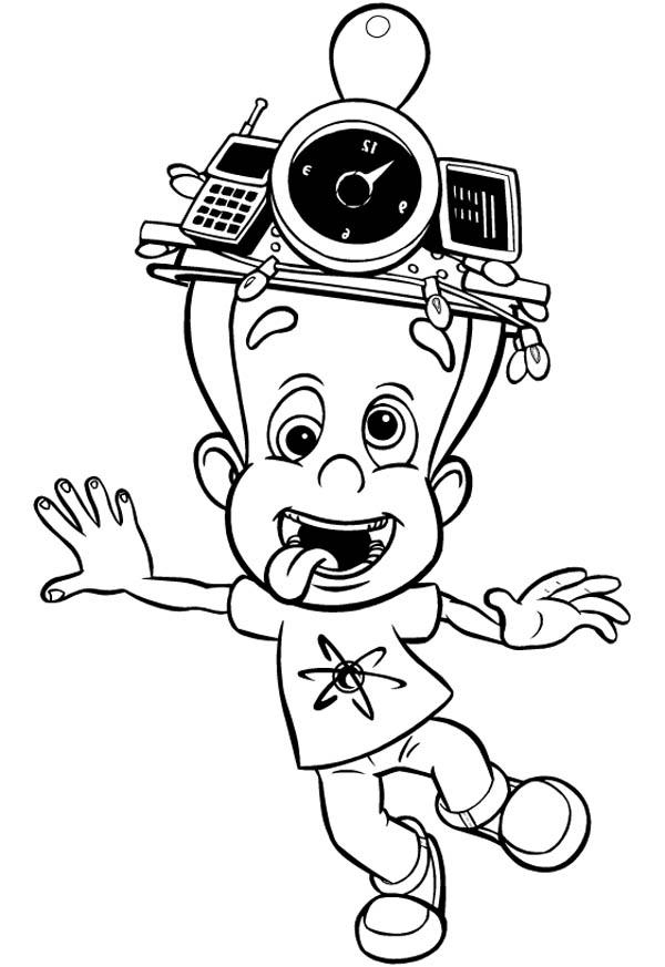 Jimmy Neutron Silly Face Coloring Pages