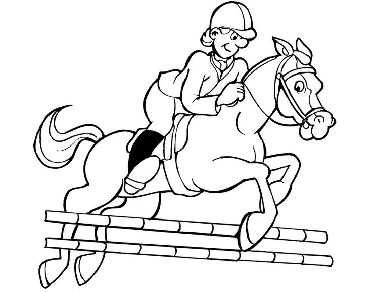 Jockey Jumping Horse Coloring Pages For Kids