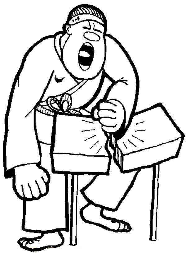 Judo Breaking A Rock In Two Coloring Pages