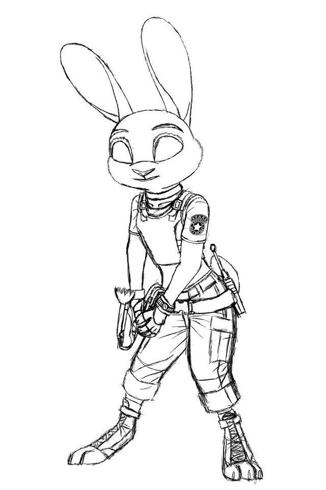 Judy Hopps From Zootopia Coloring And Drawing Page Sketch