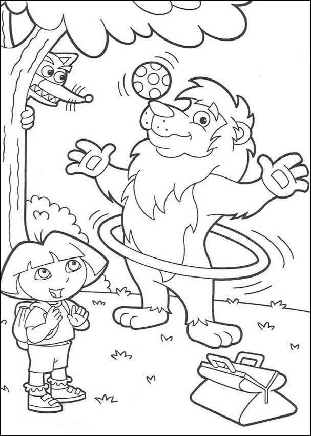 Juggling Lion And Dora Coloring Page