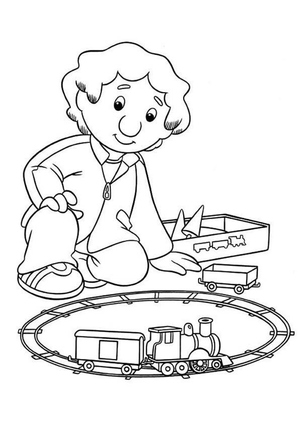 Julian From Postman Pat Playing Model Train Coloring Pages