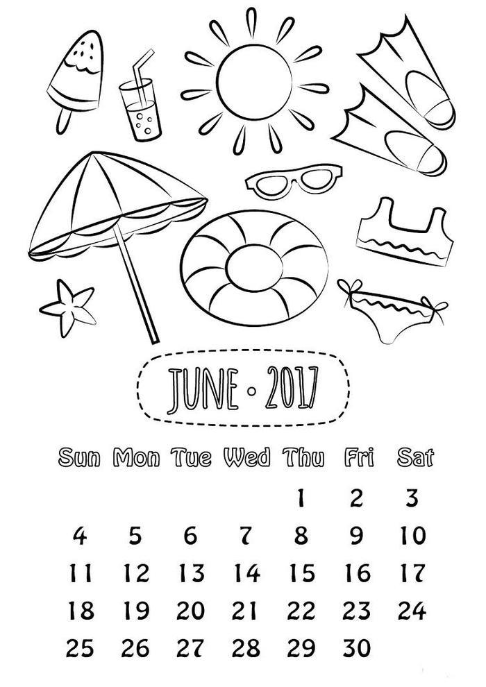 June 2017 Calendar Coloring Pages