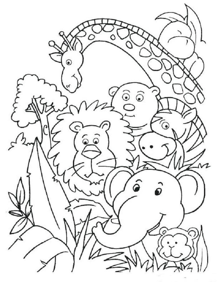 Jungle Animals Coloring Pages To Print