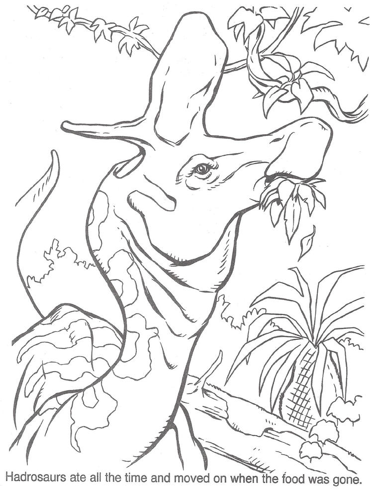Jurassic Park Coloring Pages Dinosaur Eating Leaves
