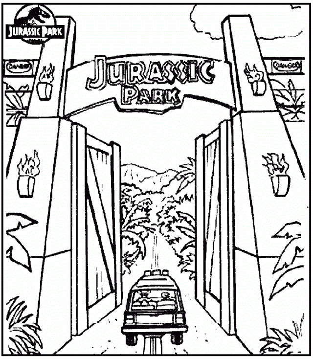 Jurassic Park Gate Coloring Pages