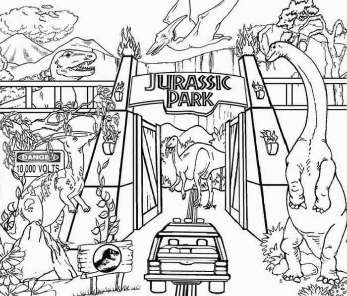 Jurassic World In Amusement Park Coloring Pages