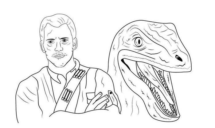 Jurassic World Owen And Blue Coloring Pages