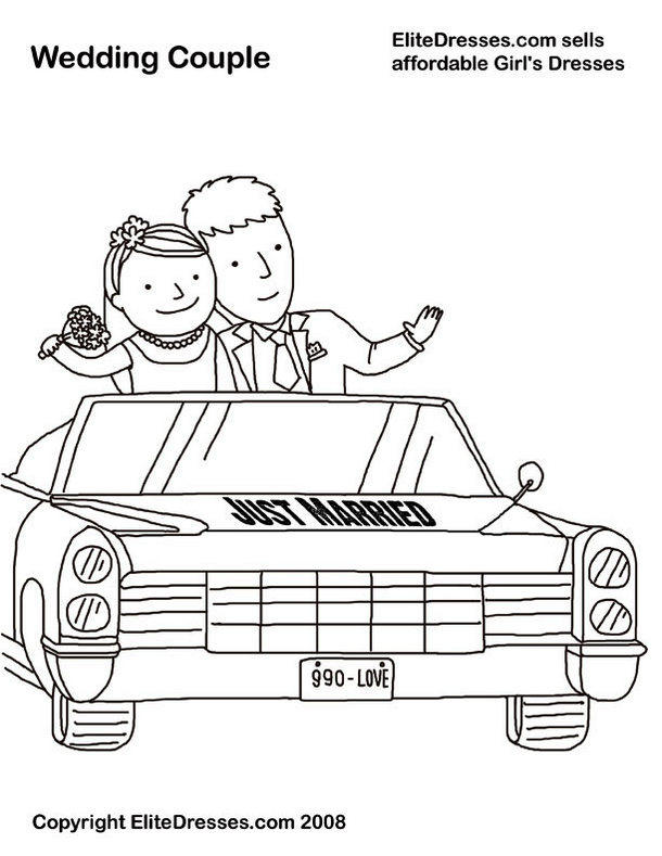 Just Married Car Coloring Books