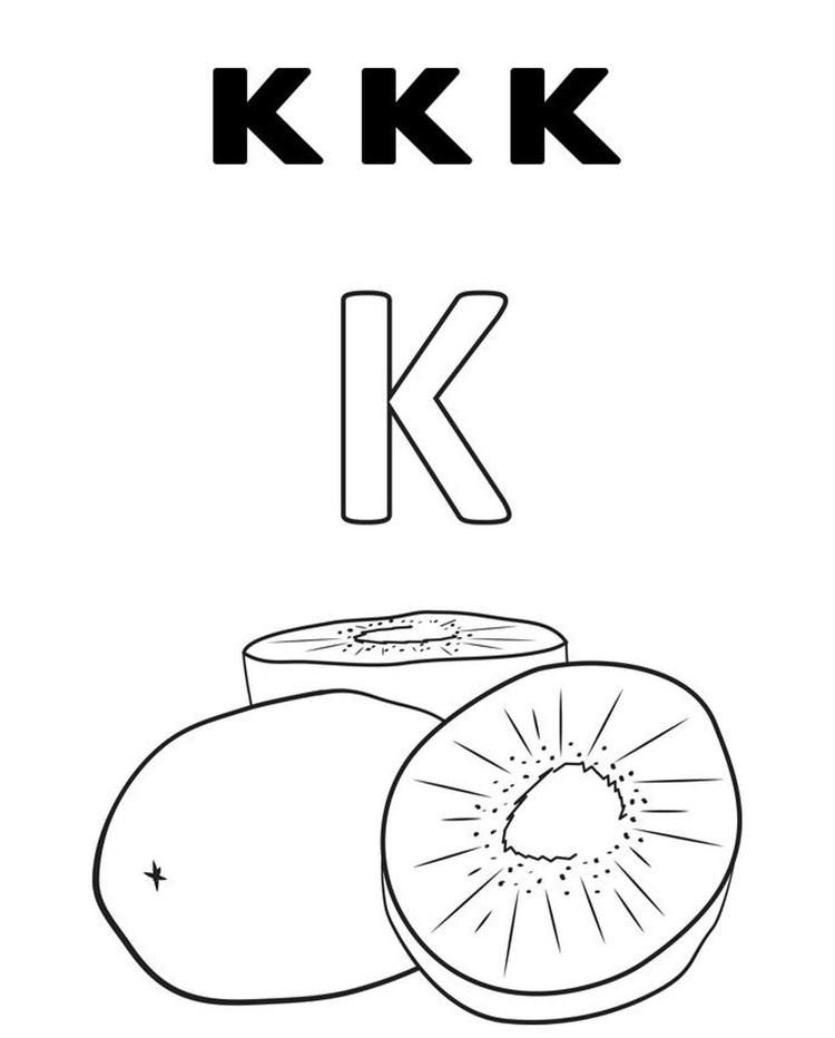 K For Kiwi Fruit Coloring Pages