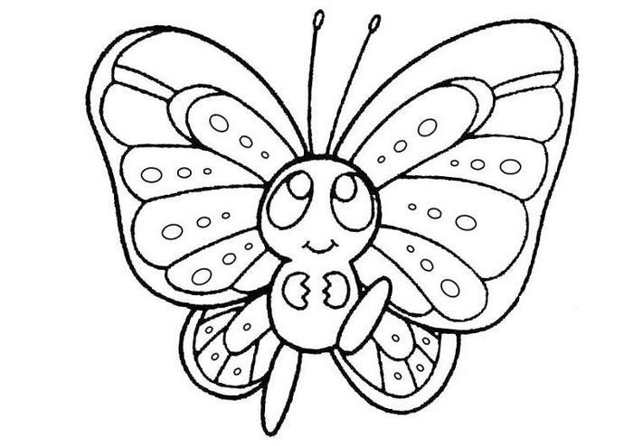 Kawaii Butterfly Coloring Pages