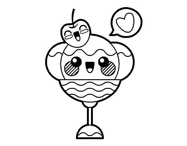 Kawaii Coloring Pages Sundae Ice Cream - Coloring Ideas