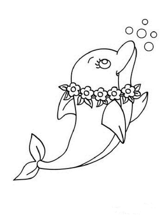 Kawaii Dolphin Coloring Pages