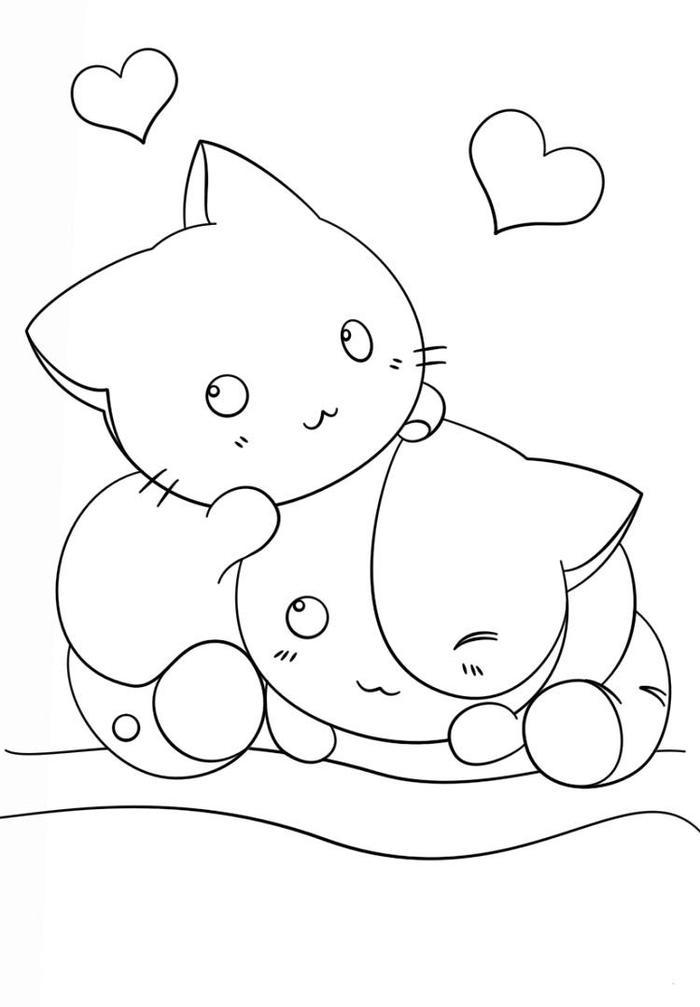 Kawaii Kittens Coloring Pages