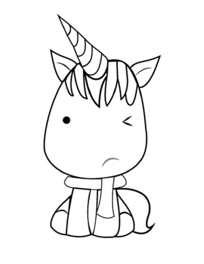 Kawaii Unicorn Free Coloring Pages