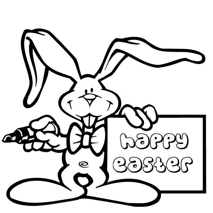 Kid Easter Coloring Pages Bunny Write Happy Easter