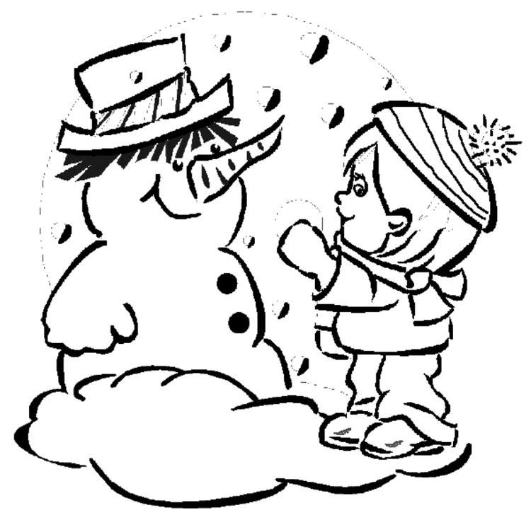 Kid Make Snowman Coloring Pages Winter