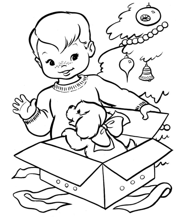 Kid Printable Coloring Pages Christmas Gift