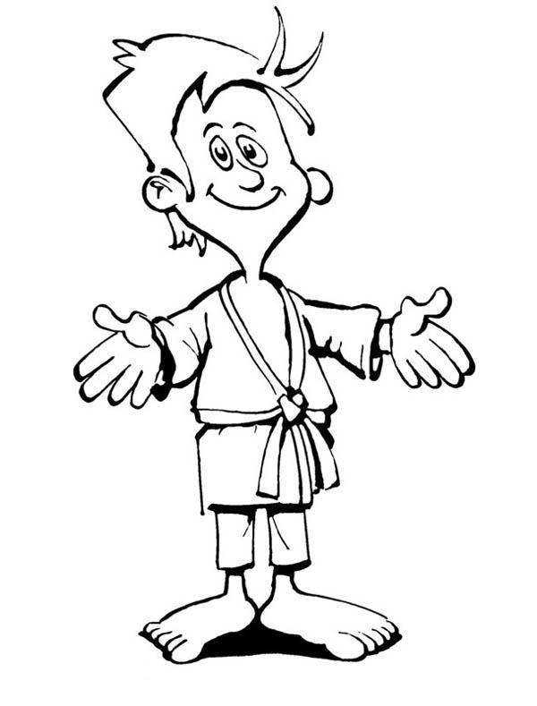 Kid Ready To Compete In Judo Coloring Pages