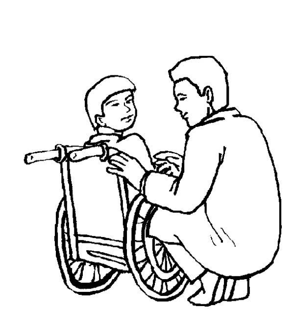 Kid Sitting On Wheelchair In Hospital Coloring Pages