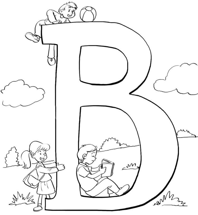Kids Alphabet Coloring Pages B Word