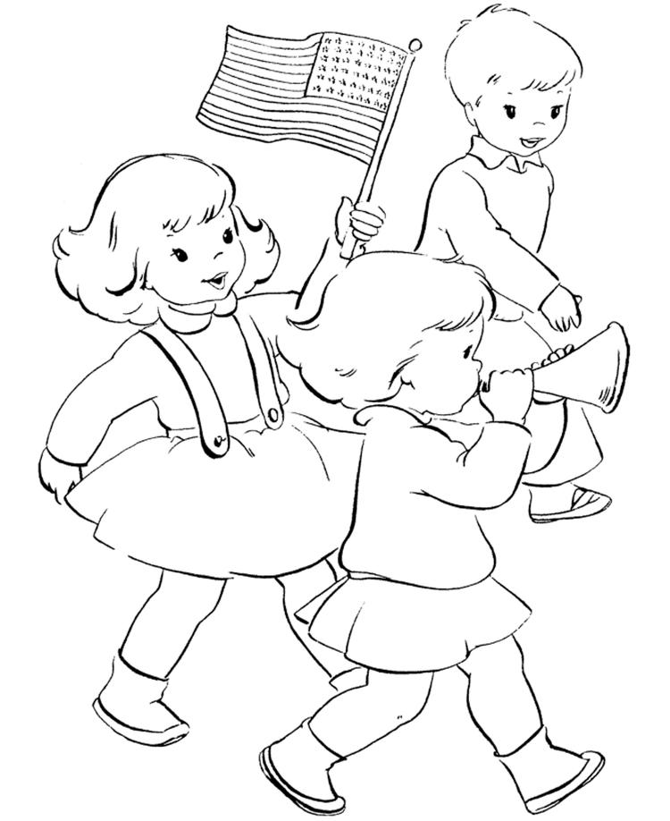 Kids And American Flag Coloring Page
