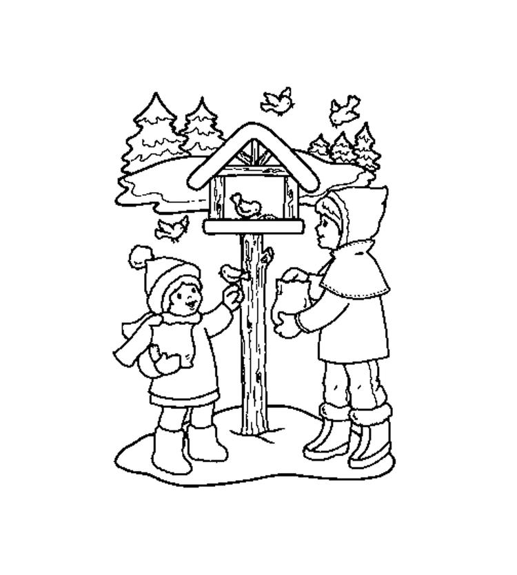 Kids And Birds In Winter Coloring Pages