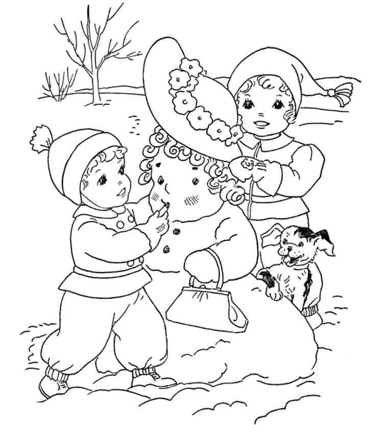 Kids Build Snowman Coloring Pages To Print