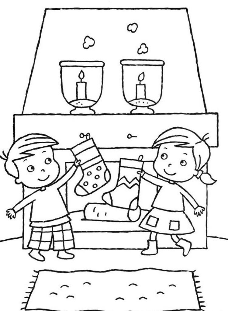 Kids Christmas Stocking Coloring Pages