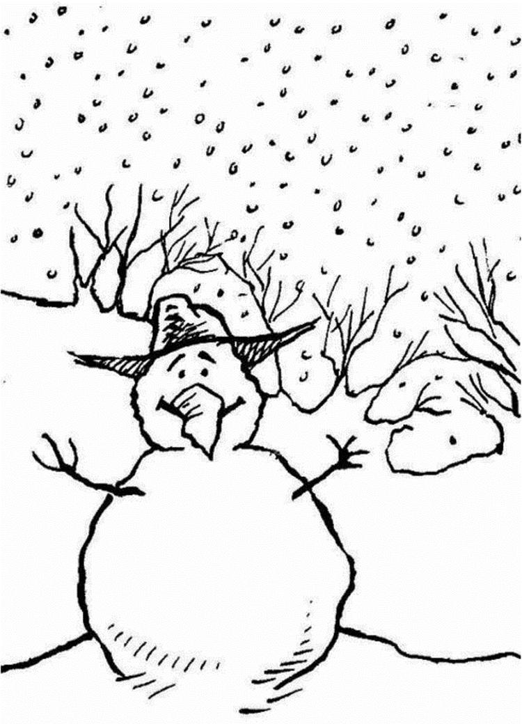 Kids Coloring Pages Winter Snowman