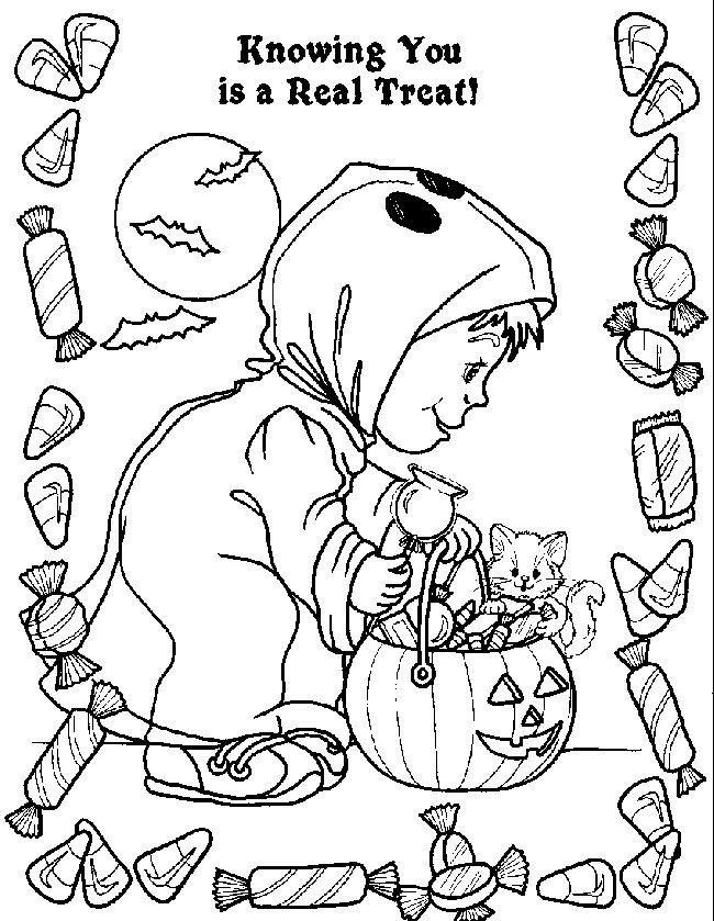 Kids Costume And Candy Halloween Coloring Pages Free