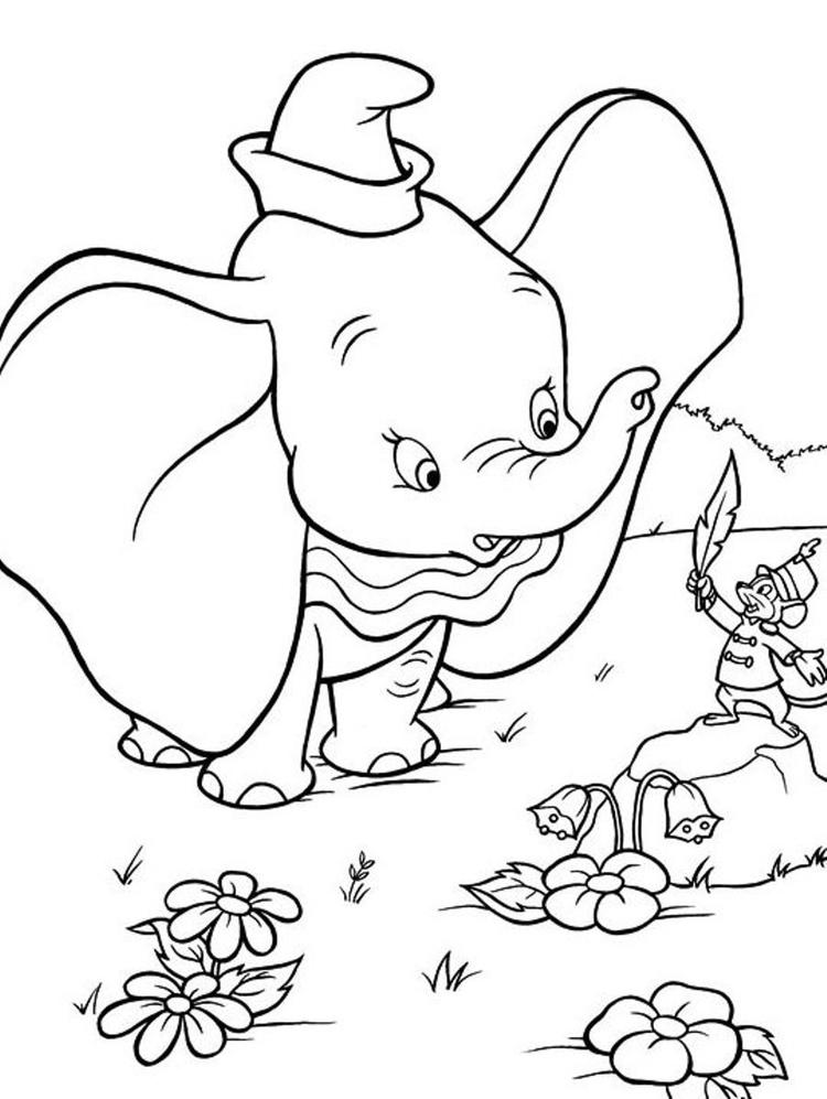 Kids Dumbo Free Printable Cartoon Coloring Pages