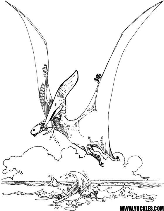 Kids Flying Dinosaurs Coloring Pages
