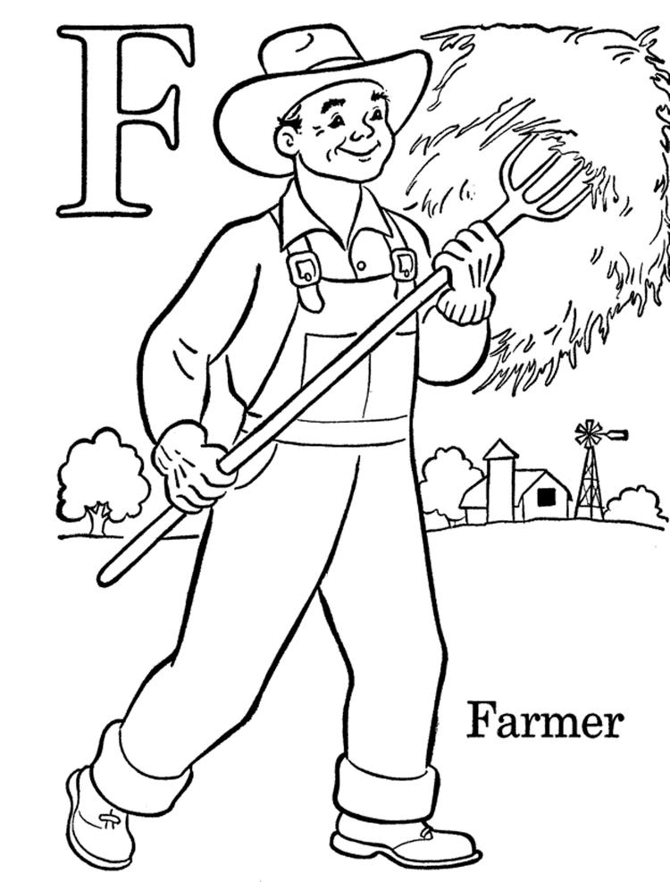 Kids Free Alphabet Coloring Pages Farmer