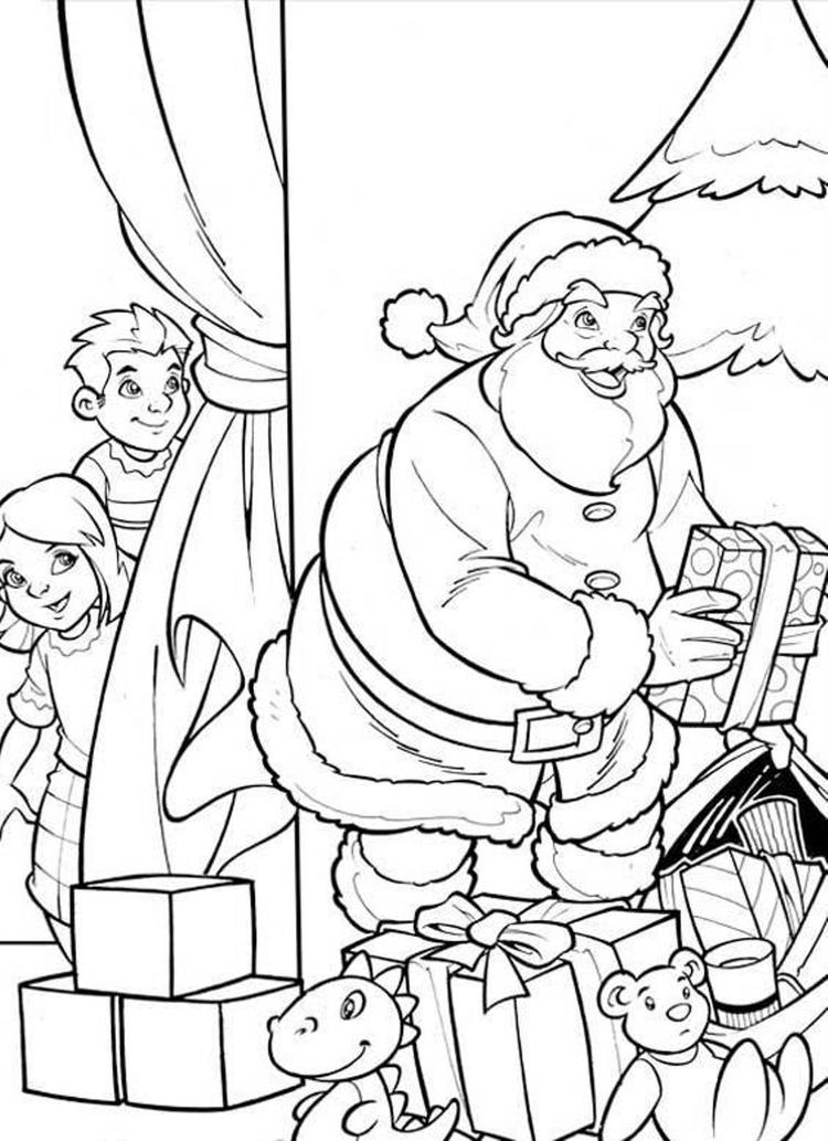 Kids Hiding From Santa Coloring Page