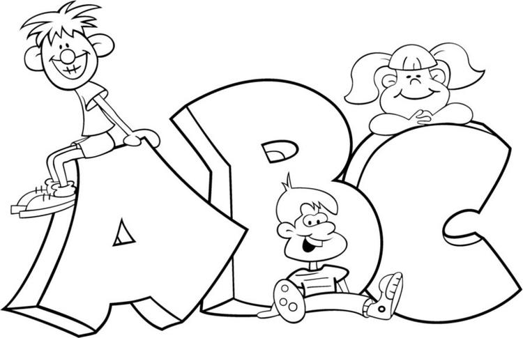 Kids In Alphabet Coloring Pages Printable