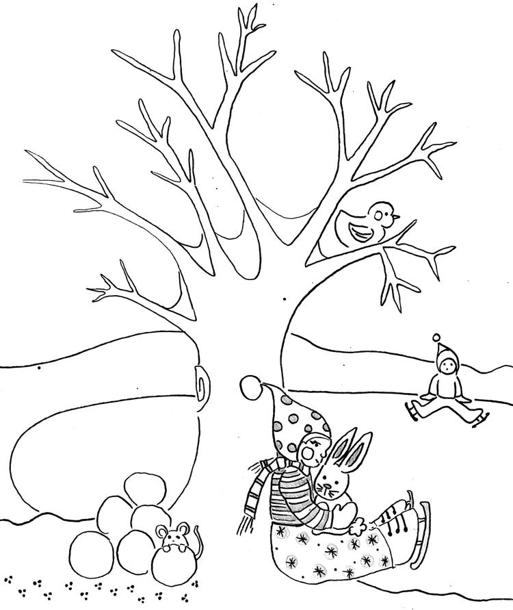 Kids In The Winter Coloring Pages