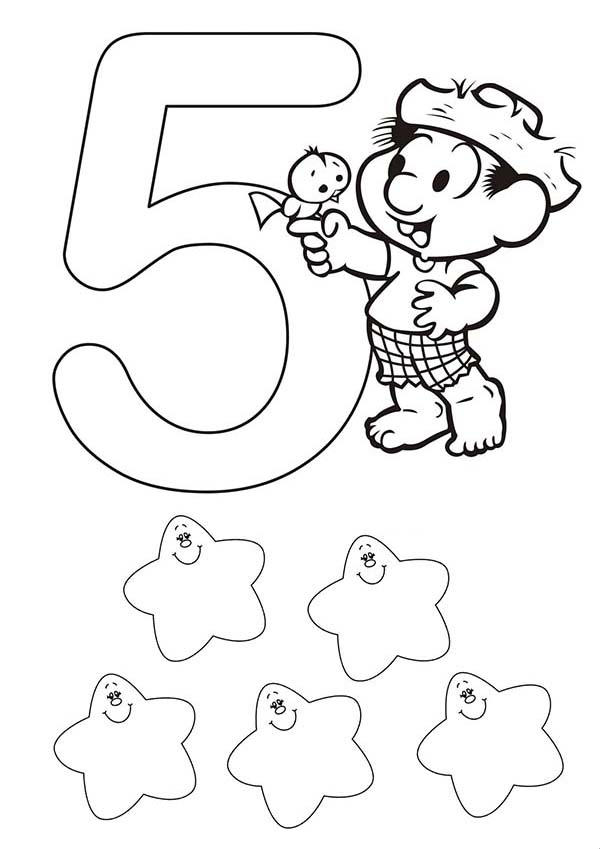 Kids Learn Learn Number 5 Coloring Page