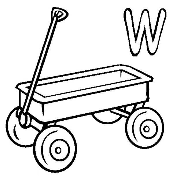 Kids Learn Letter W For Wagon Coloring Page