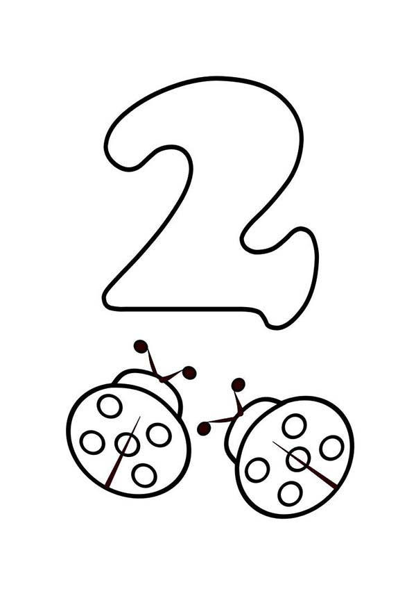 Kids Learn Number 2 With Two Ladybugs Coloring Page