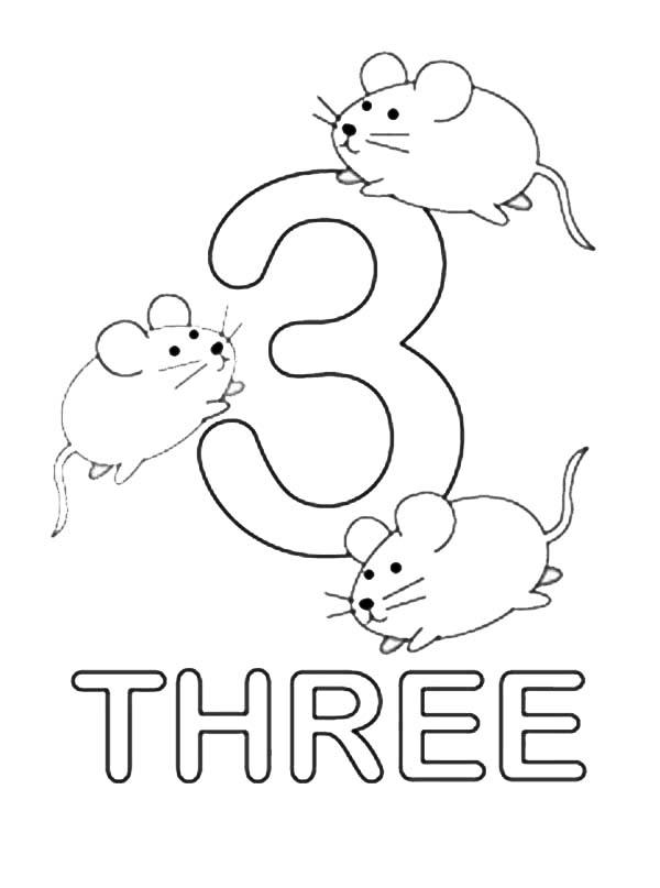 Kids Learn Number 3 Coloring Page