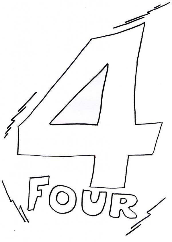 Kids Learn Number 4 Coloring Page