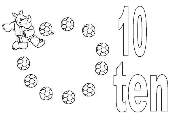 Kids Learning Number 10 Coloring Page