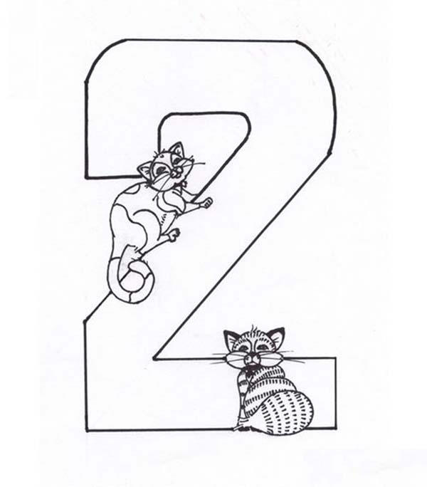 Kids Learning Number 2 Coloring Page