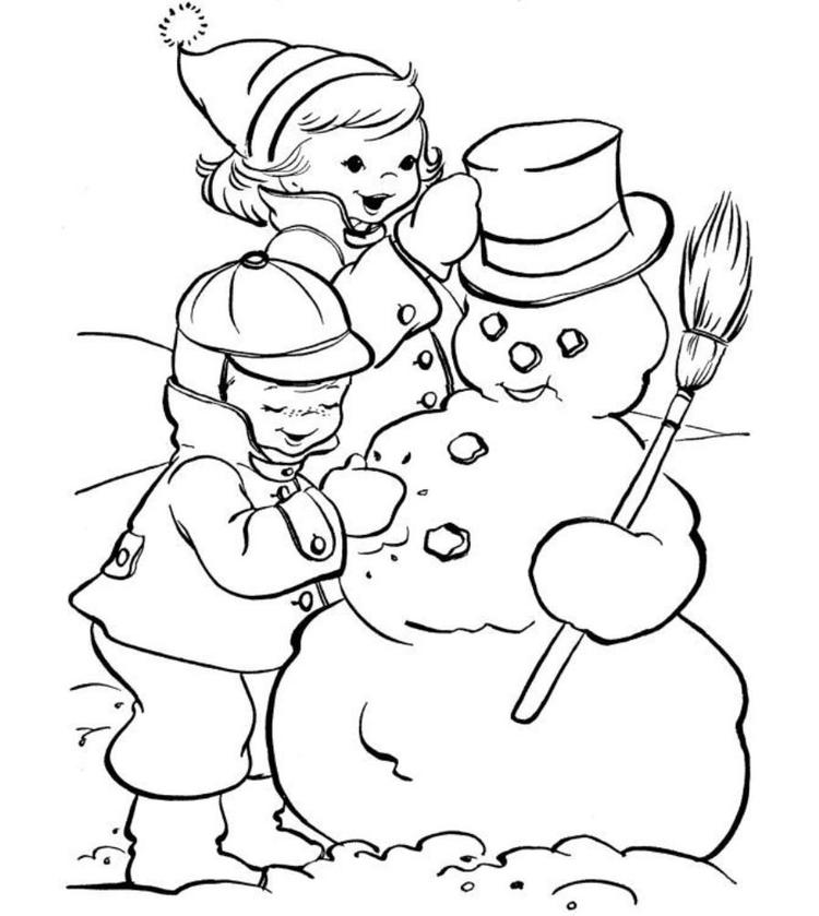 Kids Making Snowman Coloring Pages Winter