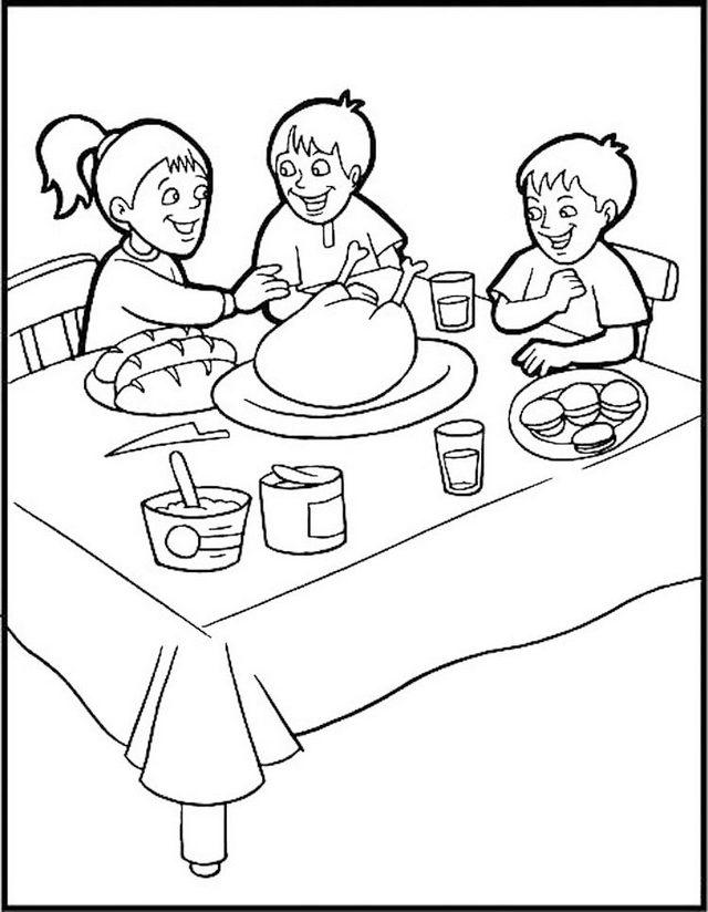 Kids On Dining Room Coloring Picture