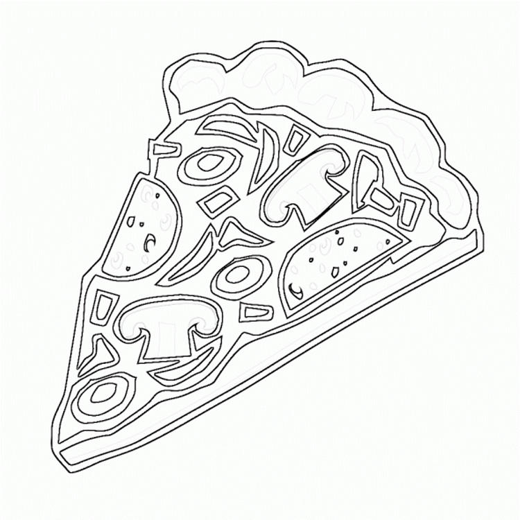 Kids Pizza Coloring Pages Of Food